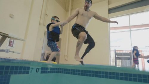 Real-people-Northwell-jumping-pool-father-son