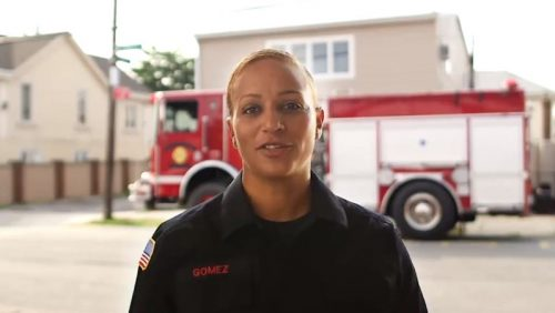 Real-people-casting-fire-fighter-female-red-fire-truck